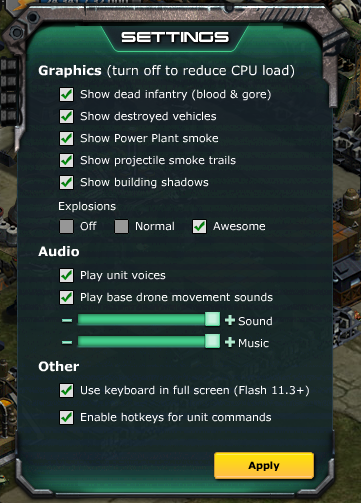 New in-game settings