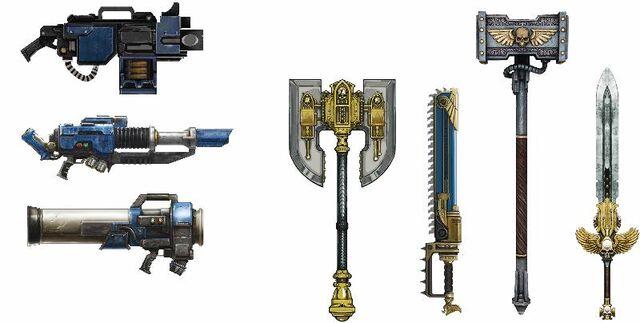 File:Space Marine weapons.jpg
