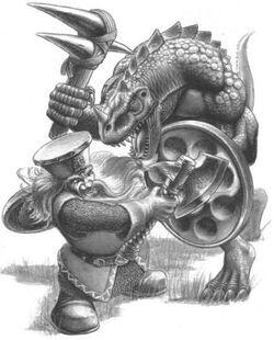 Saurus vs Dwarf Mark Gibbons Lizardmen 5th Edition illustration