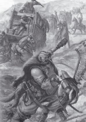 Ogres vs Kislevite Caravan 6th Edition Black&White illustration