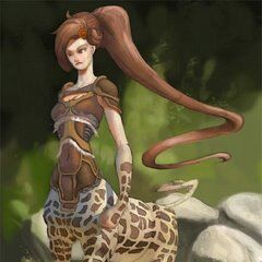 Queen Orectippe rules the most dominant South African Camelopardocentaur tribe...