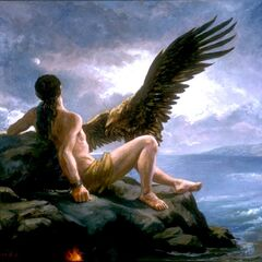 Even the Caucasian Eagle sent to torment Prometheus for his crime of stealing fire and delivering it to mankind...it was invented by Hephaestus.