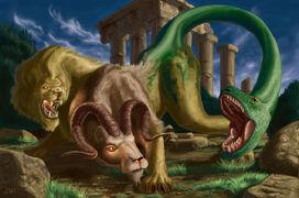 Chimera Chimaera Cheimaira Cheimaera Khimaira Kheimaira myth monster beast-1-