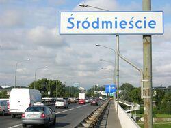 Granica Środmieścia i Pragi Południe na Moście Łazienkowskim.JPG