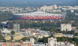 Stadion Narodowy widziany z PKiN