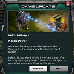 Game Update Announcing The Addition of Vanguard to Adv. Missions
