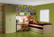 Flower-Wallpaper-and-Double-Beds-for-Girls-Bedroom-Design-Idea-By-Kibuc-with-Green-Furnitures