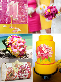 Pink yellow wedding cake dresses cocktails flowers inspiration board