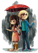 In the rain, auslly