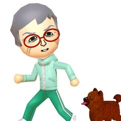 A male Mii walking with a dog.