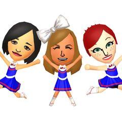 Three Female miis dressed as cheerleaders.