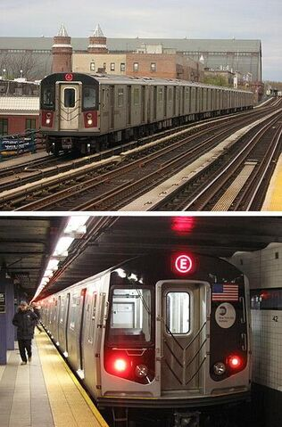 File:NYC Subway R142 on the 4 R160A on the E.jpg