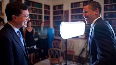 President Obama with Stephen Colbert