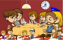 The Andrews Family and Julie's Family having dinner