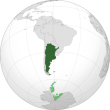 Mainland Argentina shown in dark green, with territorial claims shown in light green