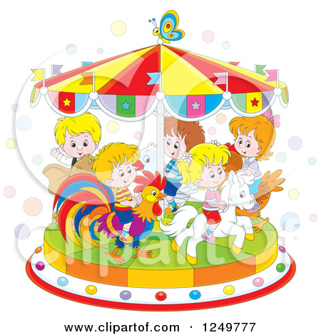 1249777-Clipart-Of-Caucasian-Children-Riding-Animals-On-A-Carousel-Royalty-Free-Vector-Illustration
