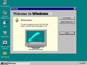 Windows 95 at first run