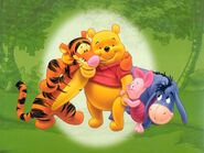 Pooh Wallpaper - Pooh, Tigger and Eeyore in Forest
