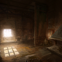 Concept painting of a modest home in the Temple Quarter day time