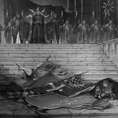 Emhyr as winner of war in Novigrad (flashback).