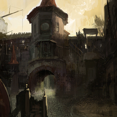 Trade Quarter by day concept painting