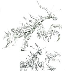 An early sketch of the frightener, modelled after the praying mantis