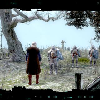 Velerad przed kryptą na cmentarzu niedaleko Starej Wyzimy - screen z gry