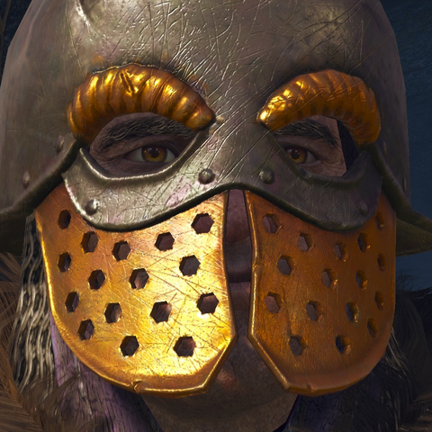 In helmet typical for Clan Drummond