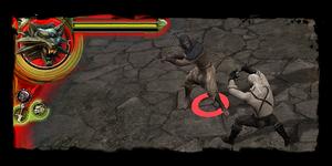 La vitalità del nemico è indicata dal cerchio giallo ai suoi piedi