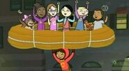 Huggy, Shelby, Tessa, Emma, Violet, doll and TJ in life raft held by WordGirl in Slumber Party Pooper