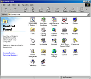 Windows98se controlpanel