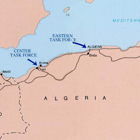 Map of Operation Torch.