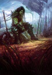 Orc female draws up battle plans