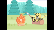 117 Wubbzy Holds Sticked Marshmallow Over Instant Campfire
