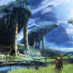 Artwork of Shulk overlooking Gaur Plain