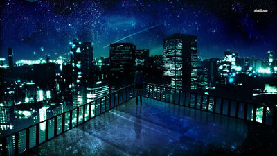 Girl-staring-at-the-city-at-night-wallpaper-anime-wallpapers-222