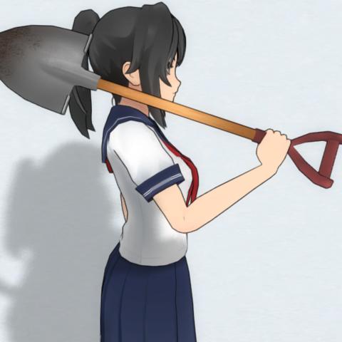 Holding the shovel.