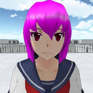Mai Waifu with red eyes.