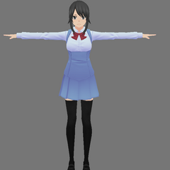 Yandere-chan's model in an original female uniform, shown in the blog post <a rel=