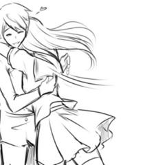 Senpai hugging a rival in the Promo Concept Video.