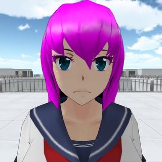 Mai Waifu with cyan eyes.