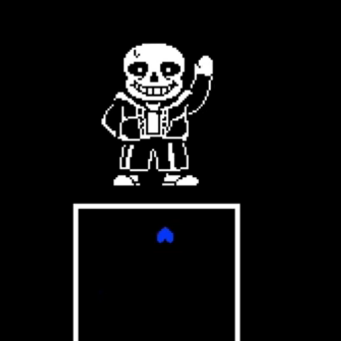 Sans moving the player's SOUL in <i>Undertale</i>.