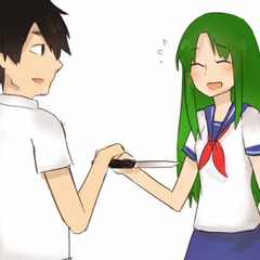 Midori tricked into giving YandereDev the knife.