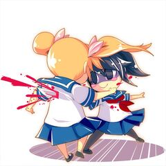 Rival-chan and Yandere-chan in the homicide challenge illustration.