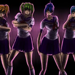 Uma ilustração de Yui e as rainbow six mostrado em <a rel=