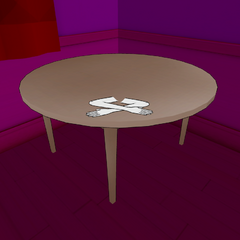 Mesa com luvas de seda.
