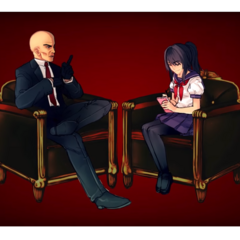 Yandere-chan taking notes from Agent 47 in <a rel=