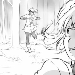 Yandere-chan chasing after Rival-chan with a knife.