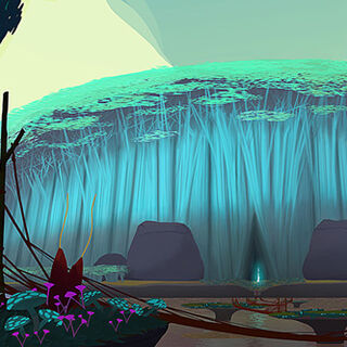Another piece of concept art, this time showing some sort of alien-like forest of fungi.