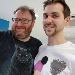Lewis and Simon at Yogscast Studios 2017.